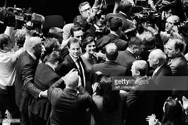 British Deputy Prime Minister and Leader of the Liberal Democrats Nick Clegg and wife Miriam Gonzalez Durantez are surrounded by media following his...