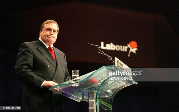 British Deputy Prime Minister John Prescott gives the final speech to conclude the Labour Party Annual Conference at The International Conference...