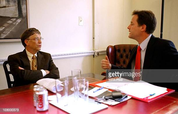British Deputy Prime Minister Nick Clegg meets with Bill Gates at the Cabinet Office on July 20 2010 in London England Following a meeting with the...