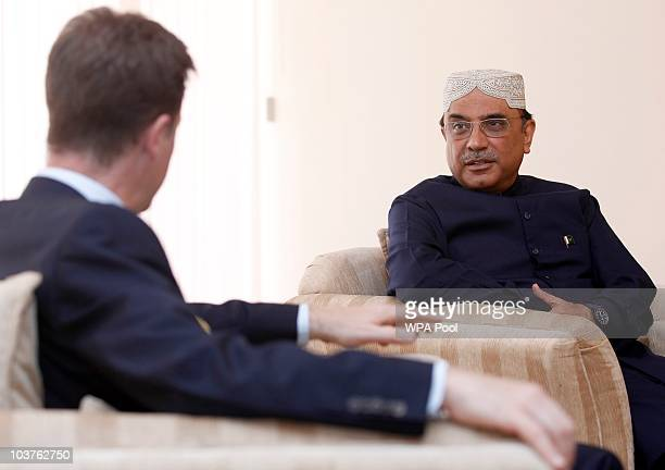 British Deputy Prime Minister Nick Clegg meets with Pakistan's President Ali Zardari during his visit to an airport town on September 1, 2010 in...