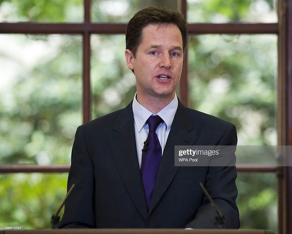 British Deputy Prime Minister Nick Clegg speaks during the launch of the Government Programme Coalition Agreement document in London, May 20, 2010. The event served as platform at which the new government outlined the details agreed in the formation of the new coalition including policy areas such as the introduction of a banking levy and plans to rein in bonuses in the financial services sector.