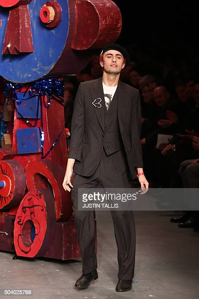 British designer Charles Jeffrey walks on the catwalk during the MAN catwalk show presenting creations by Charles Jeffrey Loverboy on the first day...