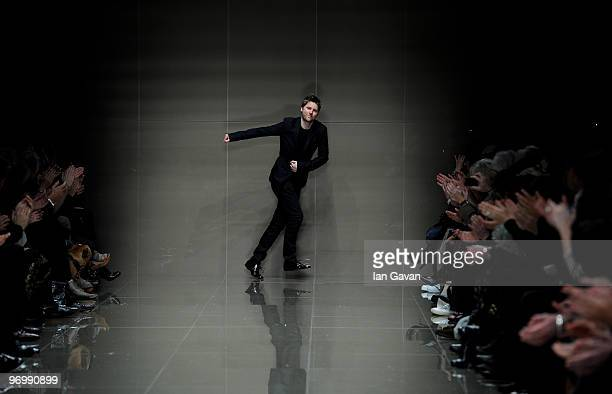 British Designer Christopher Bailey at the end of his show during the Burberry Prorsum LFW Autumn/Winter 2010 Women�s wear show at the Parade Ground,...
