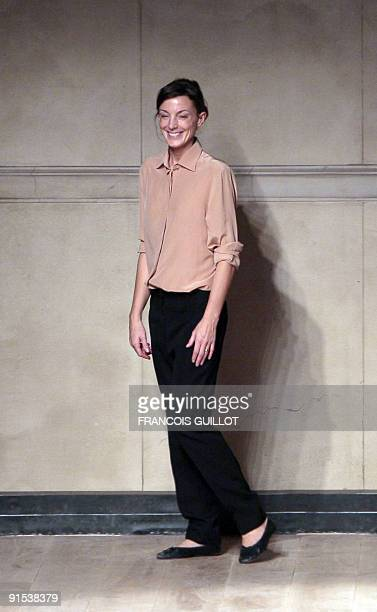 British designer Phoebe Philo acknowledges the public at the end of Celine ready-to-wear Spring-Summer 2010 fashion show on October 5, 2009 in Paris....