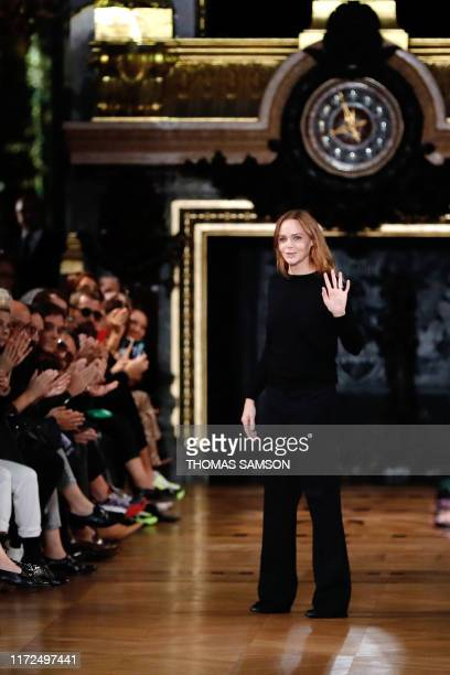 British designer Stella McCartney acknowledges the audience after the Stella McCartney Women's SpringSummer 2020 ReadytoWear collection fashion show...