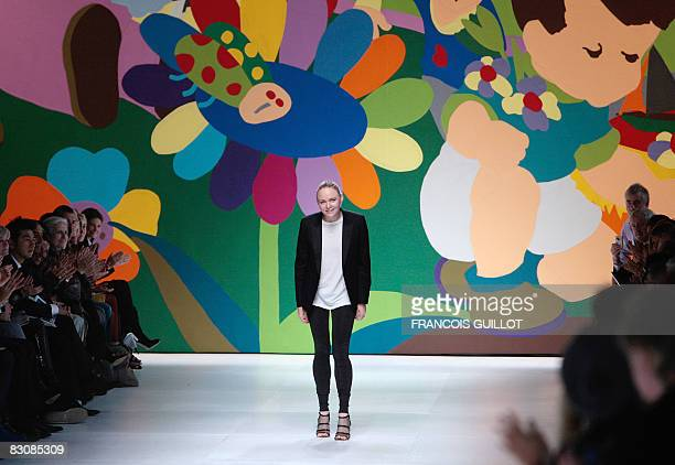 British designer Stella McCartney at the end of her spring/summer 2009 ready-to-wear collection show in Paris, on October 02, 2008. AFP PHOTO...