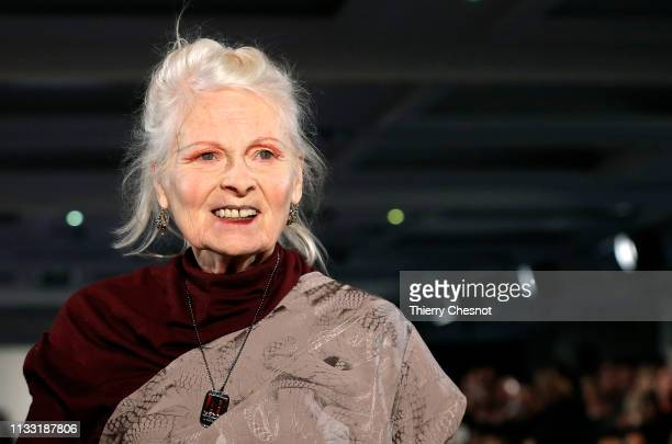 British designer Vivienne Westwood acknowledges the audience at the end of the Vivienne Westwood show as part of the Paris Fashion Week Womenswear...