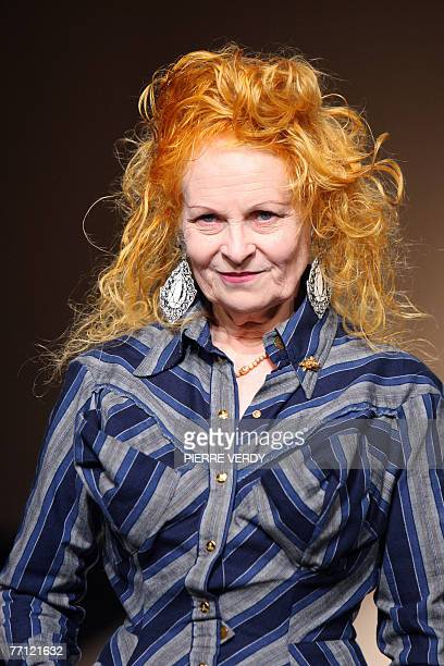British designer Vivienne Westwood acknowledges the public at the end of her Spring/Summer 2008 readytowear collection show in Paris 01 October 2007...