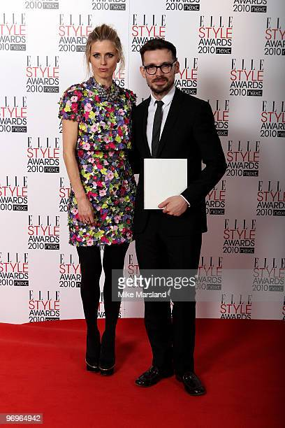 British Designer winner Erdem poses with Laura Bailey in the Winner's room at the ELLE Style Awards 2010 at the Grand Connaught Rooms on February 22,...