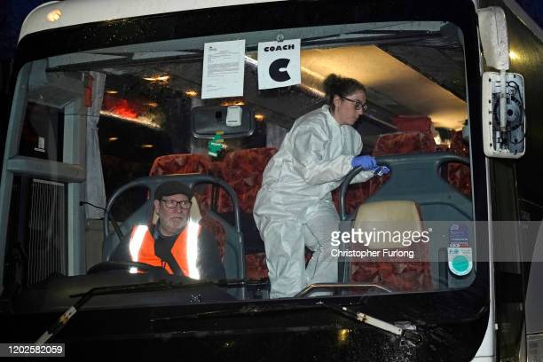 British Diamond Princess evacuees arrive at Arrowe Park Hospital on February 22 2020 in Wirral United Kingdom UK nationals who have spent 16 days in...