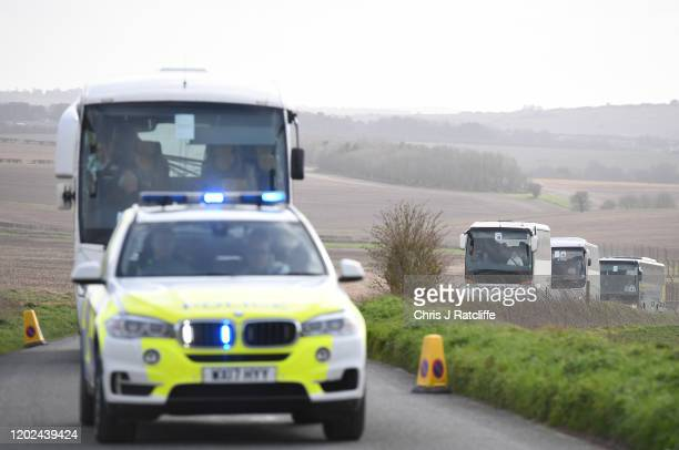 British Diamond Princess evacuees arrive at Boscombe Down airfield on a repatriation flight from Tokyo on February 22 2020 in Amesbury United Kingdom...