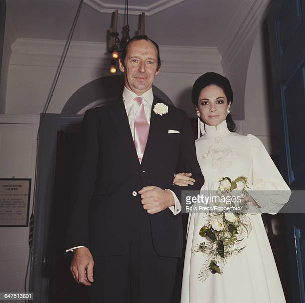 British diplomat and Conservative Party politician David OrmsbyGore 5th Baron Harlech also known as Lord Harlech marries Pamela Colin in London on...