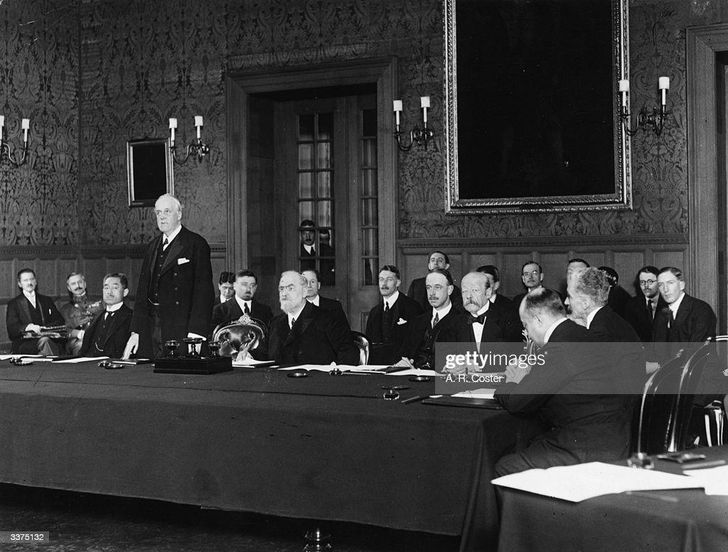 British diplomat and former prime minister Arthur Balfour (1848 - 1930) addressing the first meeting of the Council of the League of Nations in Geneva, November 15, 1920. From left to right - Dimitrios Kaklamanos of Greece, Keishiro Matsui (1868 - 1946) of Japan, Balfour, Leon Bourgeois (1851 - 1925) of France, Maggiorino Ferraris of Italy, Paul Hymans (1865 - 1941) of Belgium, and Jose Maria Quinones de Leon of Spain. The League of Nations first met on 15th November 1920 with representatives from 42 countries. The League had 32 constant members throughout its 20 year existence but 63 nations took part in various assemblies. The League of Nations was eventually superseded by the United Naitons.