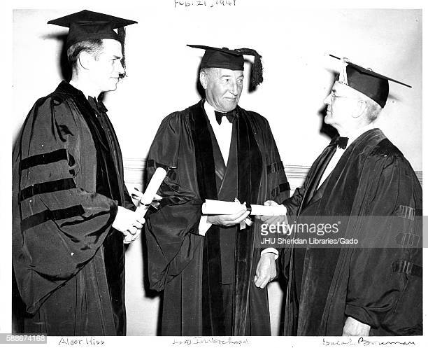 British diplomat Archibald Clark Kerr 1st Baron Inverchapel and American government official Alger Hiss receive degrees from Isaiah Bowman American...