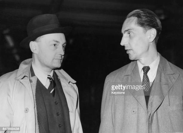 British diplomat Gladwyn Jebb and Samuel Hood 6th Viscount Hood leave Victoria Station in London for a meeting of Foreign Ministers in Paris 23rd...