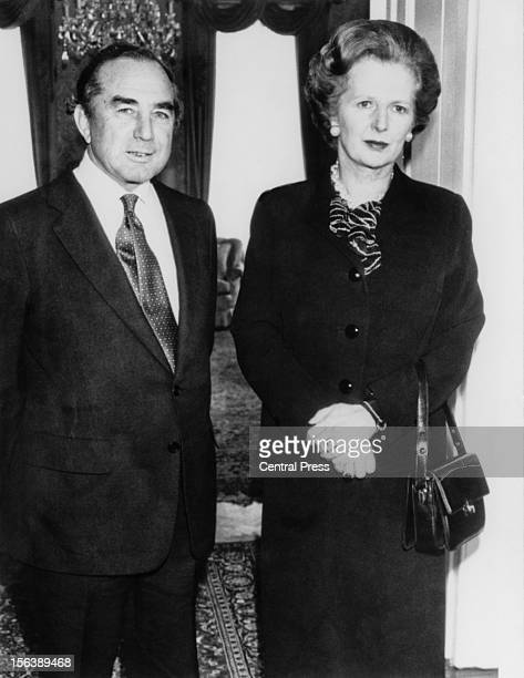 British diplomat Rex Hunt Governor of the Falkland Islands with British Prime Minister Margaret Thatcher at RAF Brize Norton in West Oxfordshire 5th...