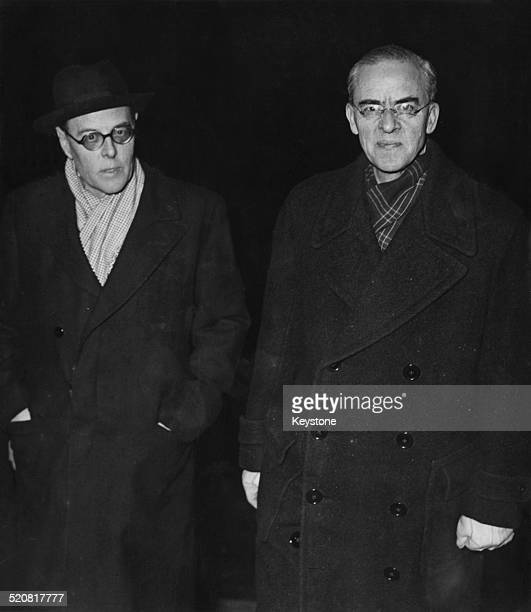 British diplomat Sir Stafford Cripps is met by Sir Oliver Harvey British Ambassador to France upon his arrival at the Quai d'Orsay in Paris for the...