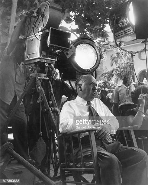 British director and producer Alfred Hitchcock on the set of his movie To Catch a Thief.