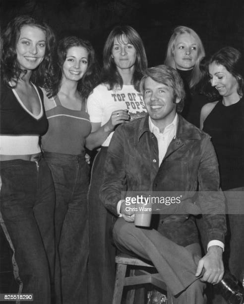 British director and producer Terry Hughes poses with the dancers of Pan's People: Louise Clarke, Cherry Gillespie, Dee Dee Wilde, Babs Lord and Ruth...