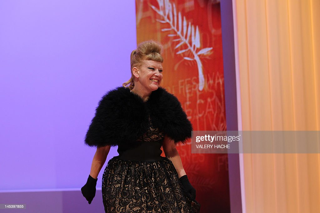 British director and scriptwriter and member of the Jury Andrea Arnold smiles as she arrives on stage during the closing ceremony of the 65th Cannes film festival on May 27, 2012 in Cannes.