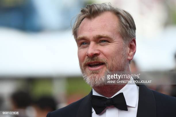British director Christopher Nolan poses as he arrives on May 13 2018 for the screening of a remastered version of the film 2001 A Space Odyssey at...