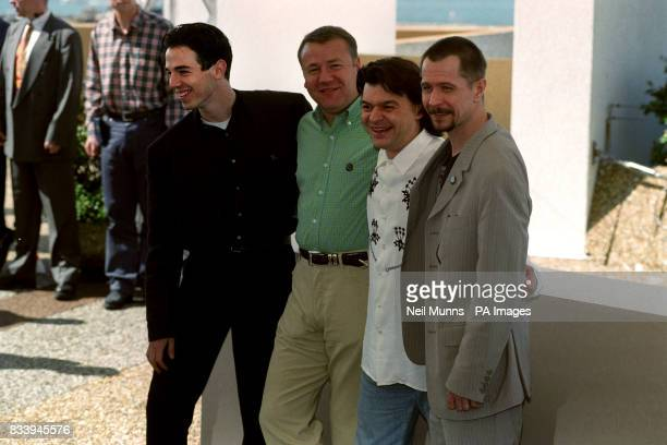 British director Gary Oldman with British actors Charlie CreedMiles Ray Winstone and Jaime Foreman during a photo call for their film 'Nil by Mouth'...