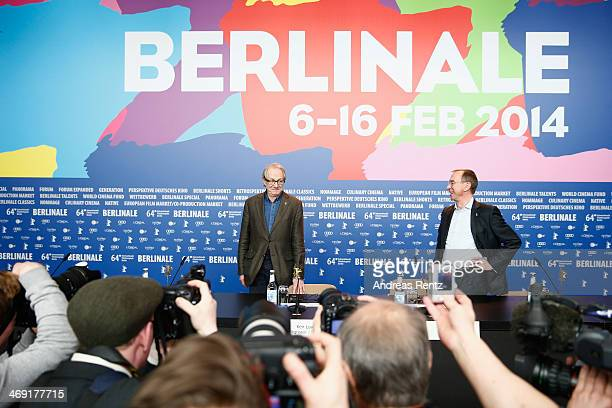 British director Ken Loach and Rainer Rother head of the Berlinale's Retrospective attend the Honorary Golden Bear To Ken Loach QA during 64th...