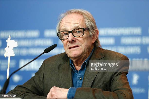 British director Ken Loach attends the Honorary Golden Bear To Ken Loach QA during 64th Berlinale International Film Festival at Berlinale Palast on...