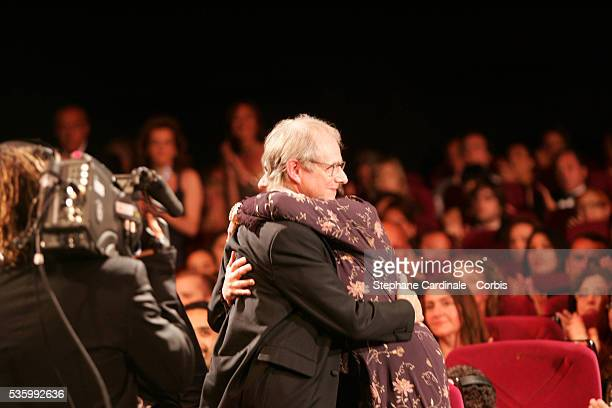 British director Ken Loach receives the Palme d'Or at the closing ceremony of the 59th Cannes Film Festival