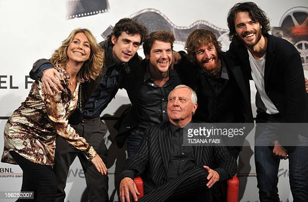 British director Peter Greenaway poses with actress Anne Louise Hassing actors Flavio Parenti Ramsey Nasr Stefano Scherini and Giulio Berruti during...