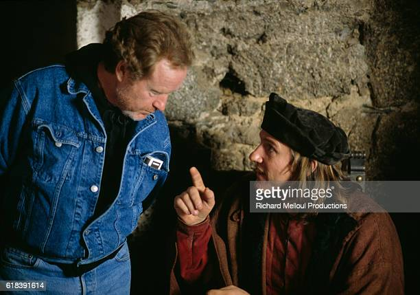 British director Ridley Scott and French actor Gerard Depardieu on the set of the film '1492 Conquest of Paradise'