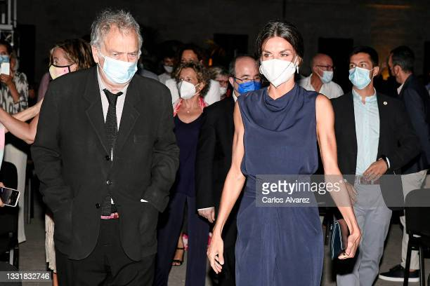 British director Stephen Frears and Queen Letizia of Spain attends to Closing Ceremony of Atlantida Mallorca Film Fest 2021 on August 01, 2021 in...