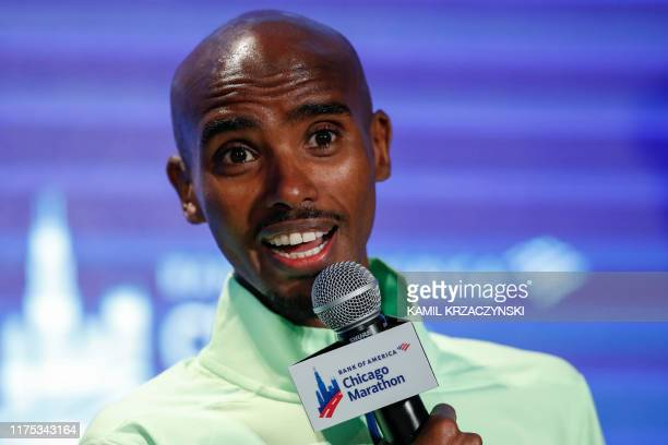 British distance runner Mo Farah speaks at the Elite Athlete Press Conference for the Chicago Marathon on October 11 2019 in Chicago Illinois