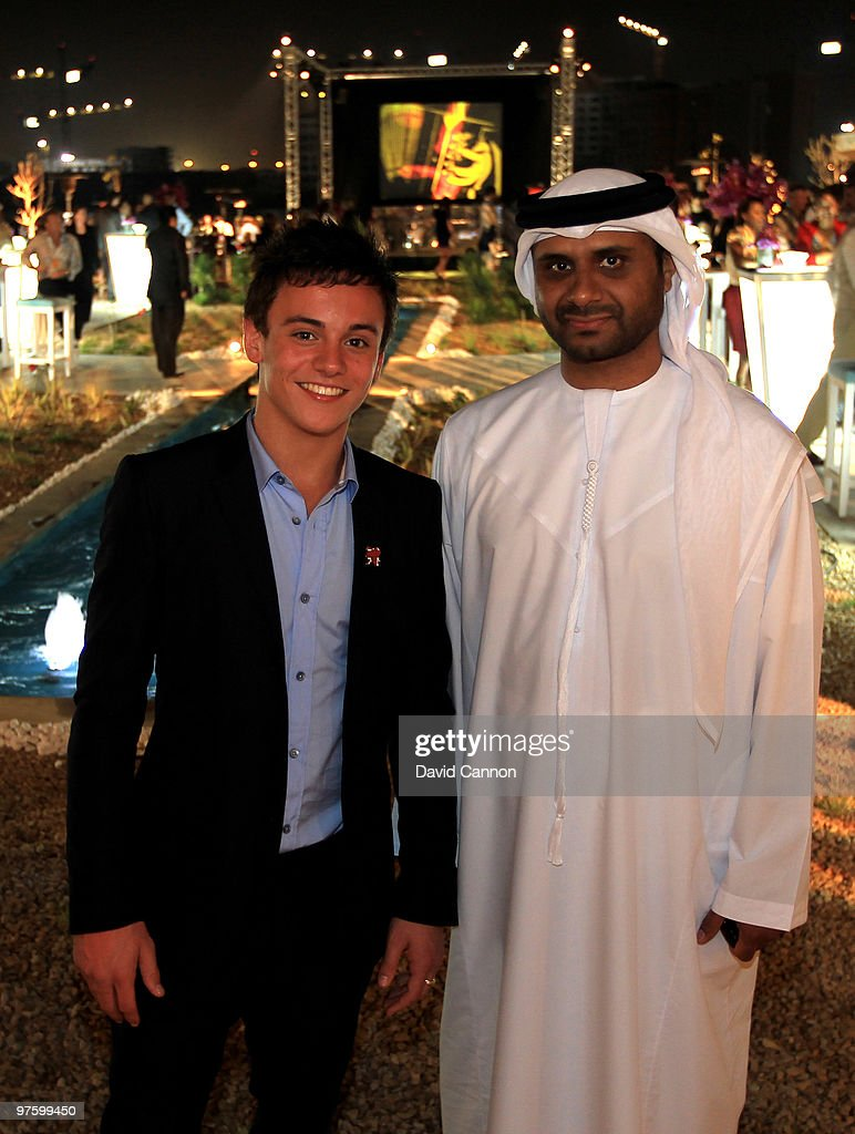British Diver, Thomas Daley and Jamal Saeed Saaleh Al Nuaimi, GM of Etisalat Abu Dhabi attend the Laureus Welcome Party part of the Laureus Sports Awards 2010 at the Fairmount Hotel on March 9, 2010 in Abu Dhabi, United Arab Emirates.