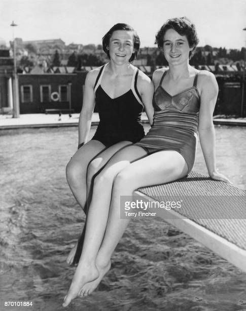 British diver Valerie LloydChandos and swimmer Annabel Hill training at the Wood Green Open Air Baths in London for the 1952 Summer Olympics 15th May...