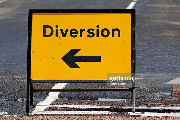 British diversion road sign on a street in Scotland