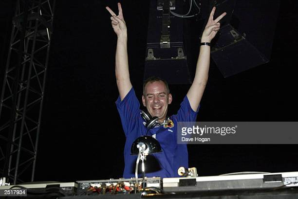 British DJ Norman Cook aka Fatboy Slim kicks off his 'Kick and Spin' tour of Japan surrounding the World Cup on June 6 2002 in Tokyo Japan