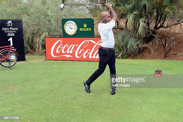 British DJ Spoony tees off during the ProAm of the Gary Player Invitational presented by CocaCola at The Lost City Golf Course on November 15 2013 in...