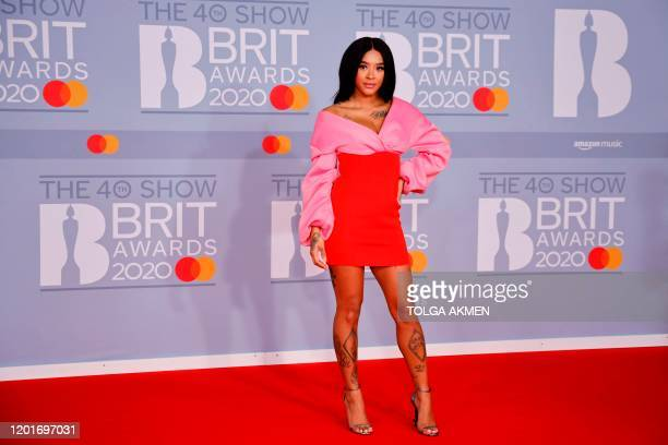 British DJ Yinka Bokinni poses on the red carpet on arrival for the BRIT Awards 2020 in London on February 18 2020 / RESTRICTED TO EDITORIAL USE NO...