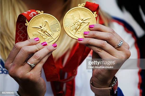 British Double Olympic Gold Medalist Rebecca Adlington shows her medals at the The Grand at Trafalgar Square on October 16 2008 in London England