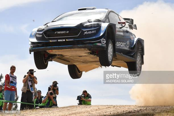 British driver Elfyn Evans and British codriver Scott Martin compete with their MSport Ford World Rally Team Ford Fiesta WRC during the Micky's Jump...