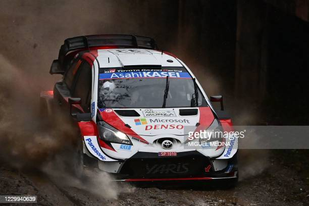 British driver Elfyn Evans and British co-driver Scott Martin steer their Toyota Yaris WRC during the afternoon SS5 stage of the FIA World Rally...