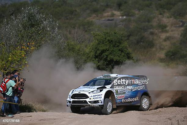 British driver Elfyn Evans steers his Ford Fiesta RS WRC with his compatriot codriver Daniel Barrit during the shakedown stage of the WRC Argentina...