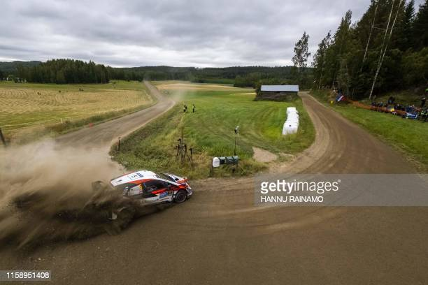British driver Kris Meeke competes during the Neste Rally Finland in Jyvaskyla central Finland on August 2 2019 / Finland OUT