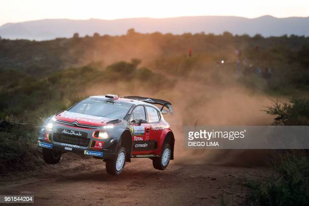 British driver Kris Meeke steers his Citroen C3 WRC with his codriver Paul Nagle from Ireland during the shakedown of the WRC Argentina 2018 near...