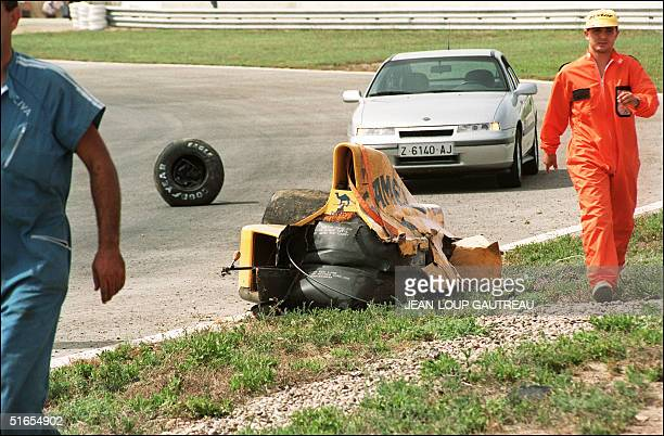 British driver Martin Donnelly car it crashed 28 September 1990 at Jerez race track during the first training session of Spanish Grand Prix