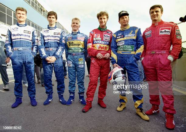 British drivers David Coulthard and Damon Hill of Williams, Johnny Herbert of Benetton, Eddie Irvine of Jordan, Martin Brundle of Ligier and Mark...