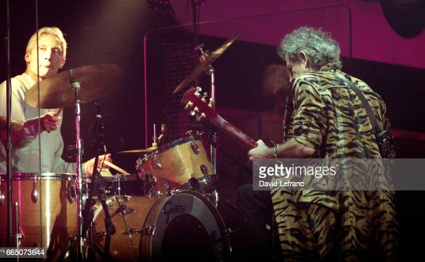 British drummer Charlie Watts and guitarist and songwriter Keith Richards of the rock band The Rolling Stones on stage at the Giants Stadium in New...