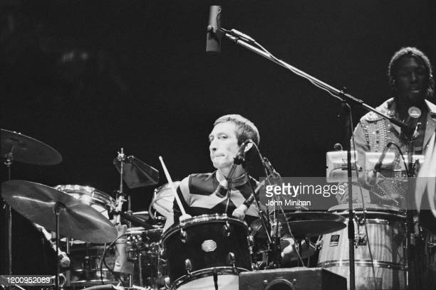 British drummer Charlie Watts as The Rolling Stones perform at Earls Court as part of their Tour of Europe '76 London England May 1976