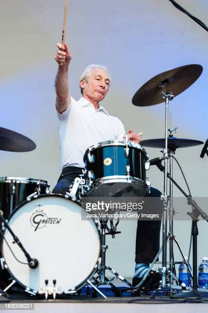 British drummer Charlie Watts performs with his band the ABCD of Boogie Woogie at 'Midsummer Night Swing' at Damrosch Park Bandshell Lincoln Center...